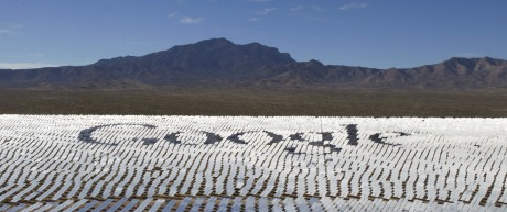 The Google logo is spelled out in heliostats \during a tour of the Ivanpah Solar Electric Generating System in the Mojave Desert near the California-Nevada border