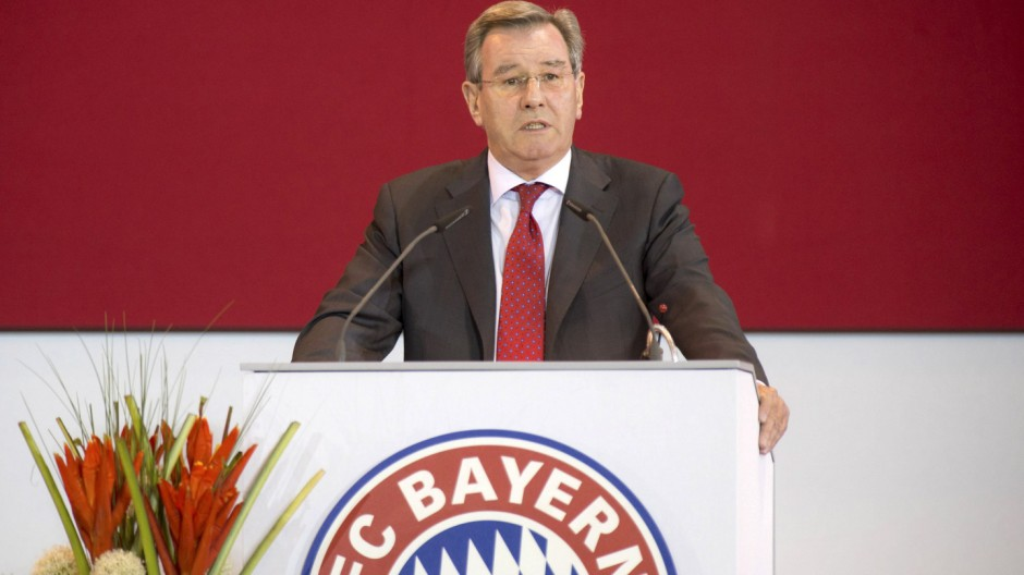 Bayern Munich's new President Karl Hopfner speaks during an extraordinary general meeting of the German Bundesliga first division soccer club