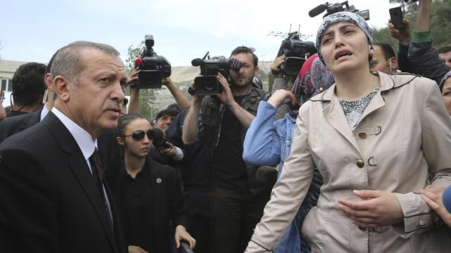Turkey's PM Erdogan visits the coal mine accident site in Soma