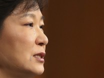 South Korea's President Park cries as she delivers a speech to the nation at the Presidential Blue House in Seoul