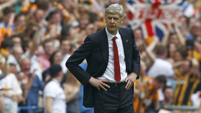 Arsenal Manager Wenger watches from the touchline during their FA Cup final soccer match against Hull City at Wembley Stadium in London