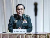 Thai Army chief General Prayuth Chan-ocha speaks during meeting with high ranking officials at The Army Club after the army declared martial law nationwide to restore order, in Bangkok