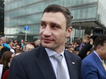 Ukraine's Vitali Klitschko arrives outside the Convention Centre where the European People's Party (EPP) Elections Congress is taking place in Dublin