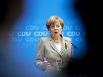 Bundeskanzlerin Angela Merkel nach der Europawahl