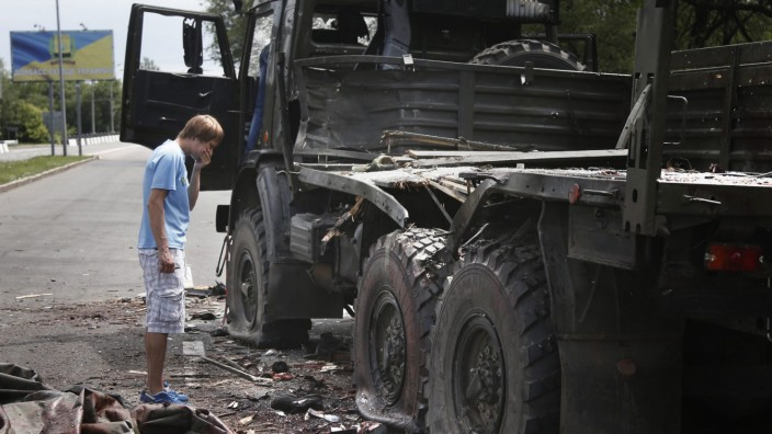Aftermath of fighting near Donetsk airport