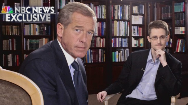 NBC Nightly News anchor Brian Williams poses with former defense contractor Edward Snowden during an interview in Moscow