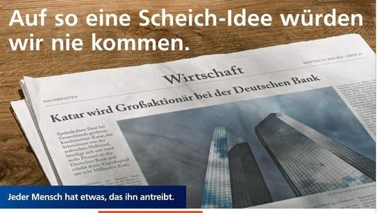 Volksbanken Anzeige Katar Scheich-Idee