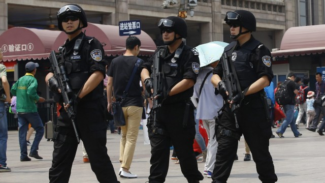Security forces deployed at Beijing railway station