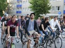 Eine Critical Mass Demonstration in Hamburg