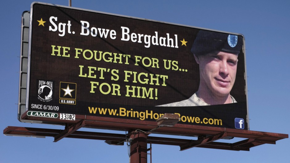 A billboard calling for the release of U.S. Army Sergeant Bowe Bergdahl near Spokane Washington