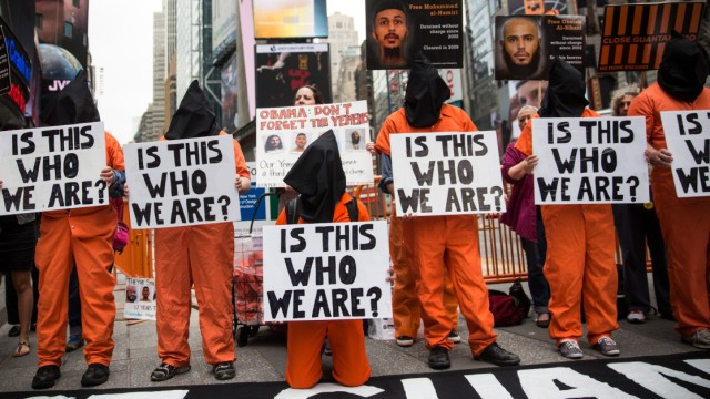 Protestors Demonstrate In Times Square For Closing Of Guantanamo Bay Detention Center