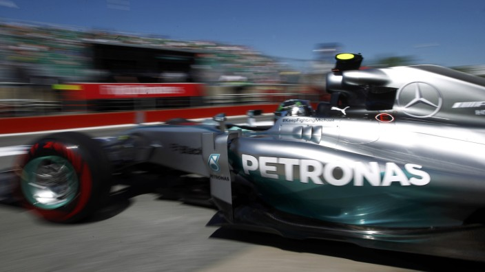Mercedes driver Nico Rosberg of Germany leaves the pits during the third free practice of the Canadian F1 Grand Prix at the Circuit Gilles Villeneuve in Montreal