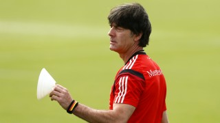 Germany's national soccer coach Loew gestures during a training session in the village of Santo Andre