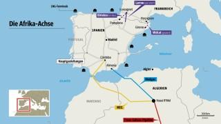 Bestehende und geplante Pipelines der Afrika-Achse