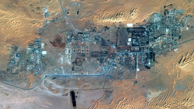 The town of In Amenas with a gas plant in Algeria is seen in this image taken by the SPOT 6 satellite, build and operated by Astrium
