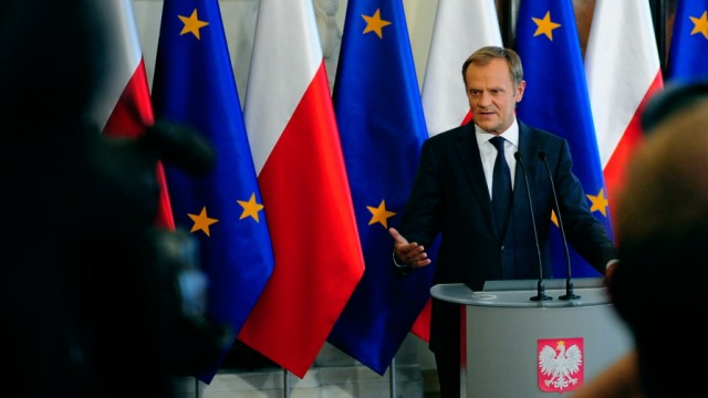 Poland's PM Tusk speaks during a news conference in Warsaw
