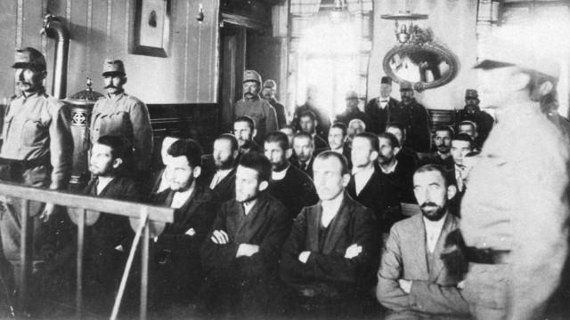 Gerichtsverhandlung gegen den Mörder des österreichischen Thronfolgers, 1914