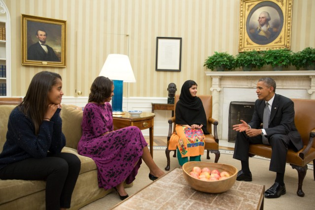Malala Yousafzai meets with the Obamas in the Oval Office