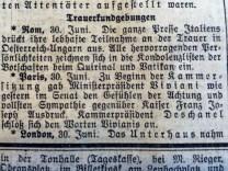 Beileidsbekundungen an Österreich-Ungarn aus Rom, London und Paris. Wenige wochen später waren Frankreich und Großbritannien, ab 1915 auch Italien im Krieg mit der Donau-Monarchie. Ausschnitt aus den Münchner Neuesten Nachrichten vom 1. Juli 1914.