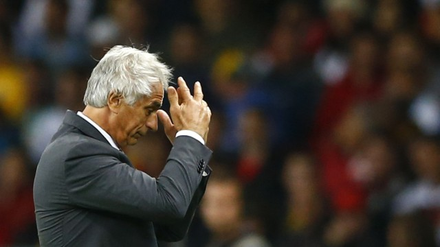 Algeria's coach Vahid Halilhodzic reacts during extra time in their 2014 World Cup round of 16 game against Germany at the Beira Rio stadium in Porto Alegre