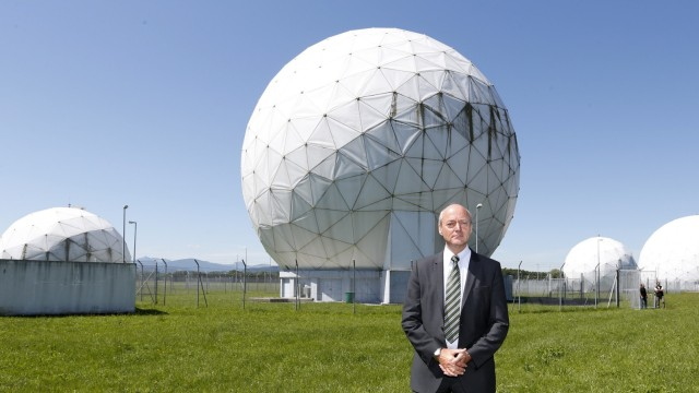 President of the German Federal Intelligence Agency (BND) Schindler stands at the former monitoring base of the NSA in Bad Aibling