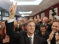 Miro Cerar, leader of the SMC, gestures after seeing preliminary results of elections in Ljubljana