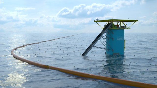 The Ocean Cleanup-Plattform im Meer