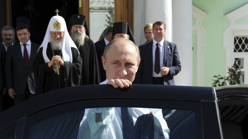 Russia's President Putin visits the Trinity Lavra monastery in Sergeiv Posad in the Moscow region