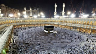 Muslim pilgrims circle the Kaaba and pray at the Grand mosque during the annual haj pilgrimage in the holy city of Mecca