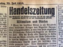 Ausriss aus den Münchner Neuesten Nachrichten vom 25. Juli 1914