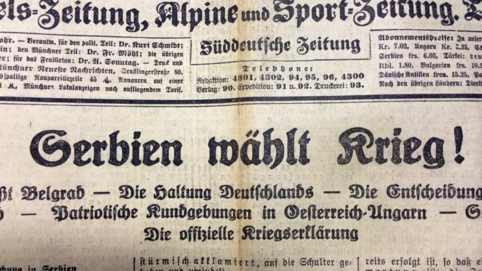 Titel der Münchner Neuesten Nachrichten vom 26. Juli 1914