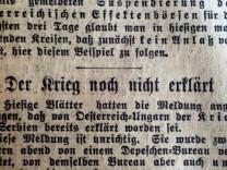 Ist der Frieden noch zu retten? Ausschnitt aus den Münchner Neuesten Nachrichten vom 27. Juli 1914
