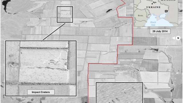 Satellite images of the Ukraine-Russia border area taken by DigitalGlobe appear in a graphic, produced by the Office of the Director of National Intelligence
