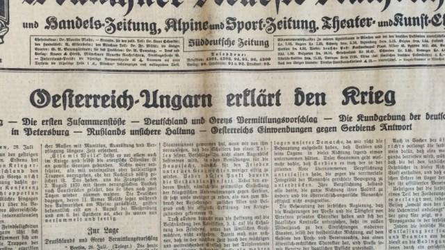 Titelseite der Münchner Neuesten Nachrichtem vom 29. Juli 1914