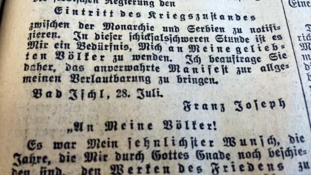 """""""An meine Völker!"""" In den Münchner Neuesten Nachrichten vom 30. Juli 1914 (Vorabendblatt) abgedrucktes """"Manifest"""" des österreichischen Kaisers Franz Joseph I."""
