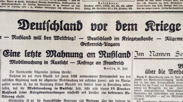 Titelseite der Münchner Neuesten Nachrichten vom 1. August 1914