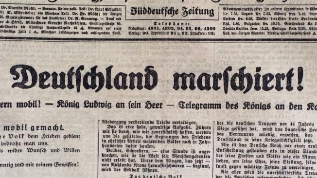 Titelseite der Münchner Neuesten Nachrichten vom 2. August 1914.
