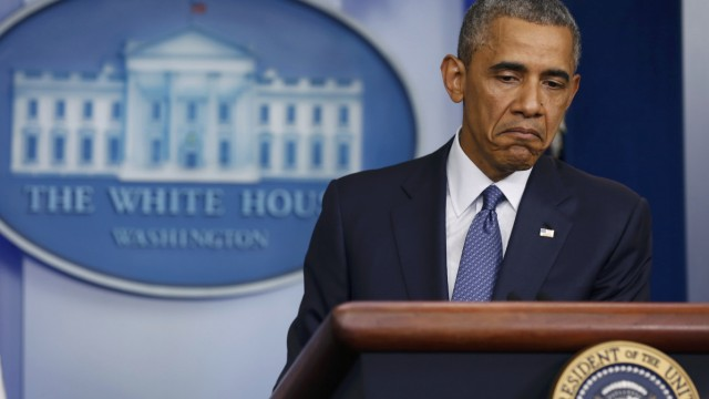 US President Barack Obama makes a statement while at the White House in Washington