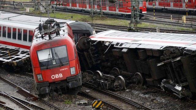 A damaged locomotive is pictured at the scene of a train crash in Mannheim
