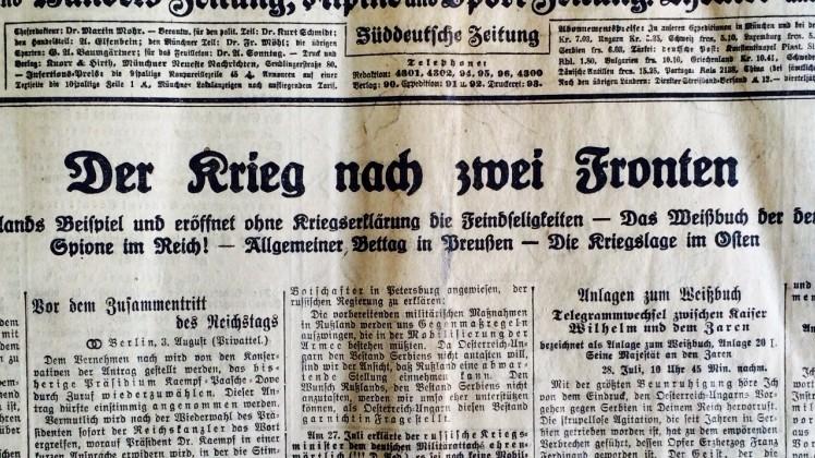 Titelseite der Münchner Neuesten Nachrichten vom 4. August 1914 (Morgenblatt).