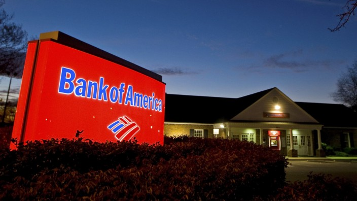 A view shows a Bank of America branch in Charlotte