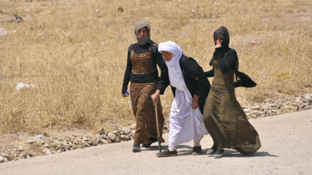 Displaced families from the minority Yazidi sect, fleeing the violence, walk on the outskirts of Sinjar, west of Mosul