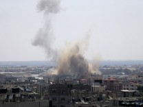 Smoke rises following what witnesses said was an Israeli air strike in Rafah in the southern Gaza Strip