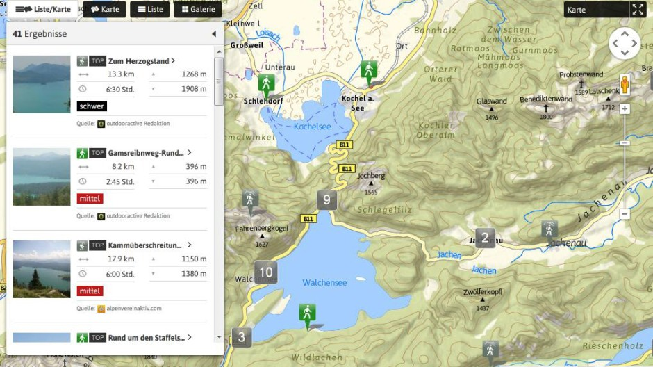 Bergsteigen Smartphone-App für Wanderrouten