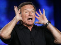 File picture shows Robin Williams gesturing during a panel discussion for his HBO show in Pasadena