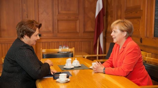 German Chancellor Angela Merkel in Latvia