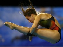 Kurjo of Germany jumps from 10 m platform at the European Swimming Championships in Berlin
