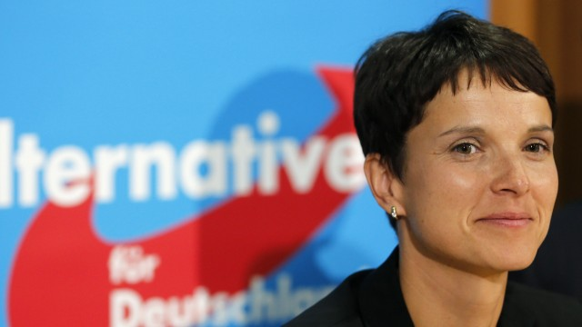 Frauke Petry, top-candidate of the Alternative for Germany (AfD) party in the Saxony state election, attends a news conference in Berlin