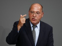 Gregor Gysi of left-wing Die Linke party speaks during debate about situation in Iraq in lower house of parliament in Berlin
