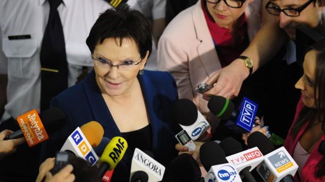 Poland's parliament speaker Ewa Kopacz speaks to media at the parliament in Warsaw